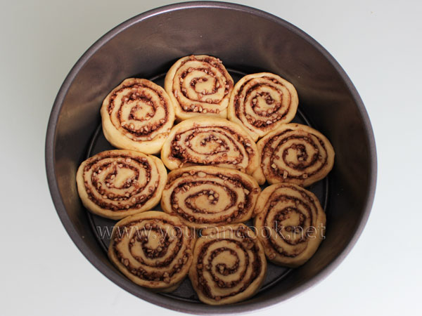 Zimtschnecken  - Cinnamon Rolls in der Backform auslegen